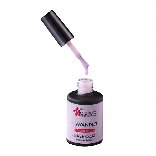 Molekula nails Цветное каучуковое базовое покрытие color rubber base coat (лавандовый)